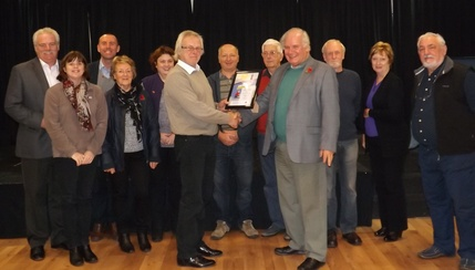 Cllr Cave receiving the NLC Community Grant Certificate from Cllr C Sherwood attended by Ward Cllrs and the Parish Council on 11/11/14